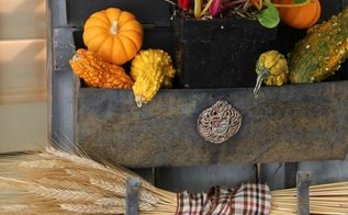 business in the front party in the back fall porch decor for all, porches, seasonal holiday decor, A chippy vintage mailbox holds pumpkins swiss chard and a wheat bundle on an old blue shutter