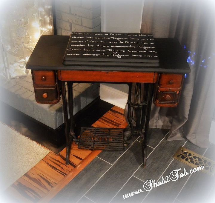 Antique Sewing Machine Makeover ReLoved French Script Stencil