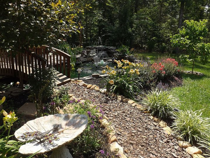 jane austin water flower gardens 6 26 13, flowers, gardening, outdoor living, ponds water features, Walkway is the path to relaxation Pine bark mulch