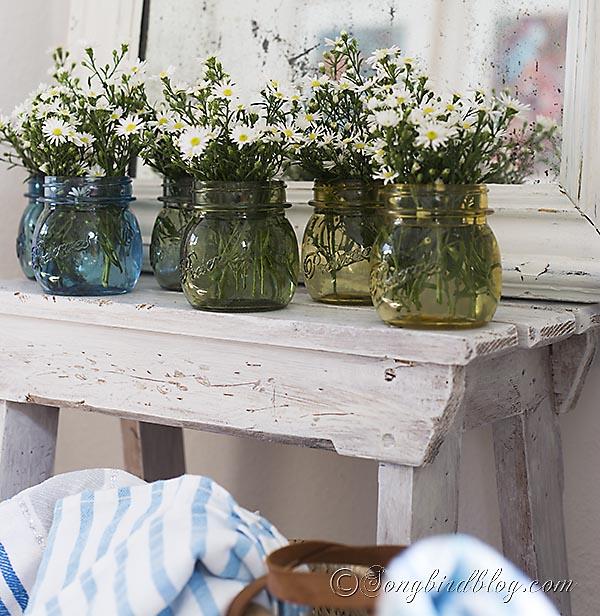 rainbow colored glass jars, crafts