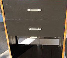 repurposed dresser, painted furniture, Another front view Oh my this is my first post This piece is replacing a smaller old dresser we keep our dish cloths tea towels and office supplies etc in So now I already have plans to refinish that one for our master bath