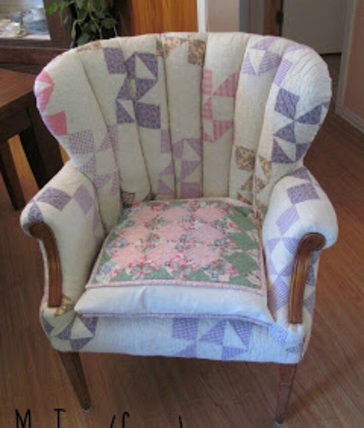 Give new life to a wing chair with well loved quilts.