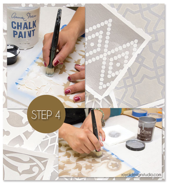 Full instructions for mixing stencil paints to get the desired shades on the blog. http://www.royaldesignstudio.com/blogs/how-to-stencil/8384153-stencil-how-to-metallic-moroccan-stencils