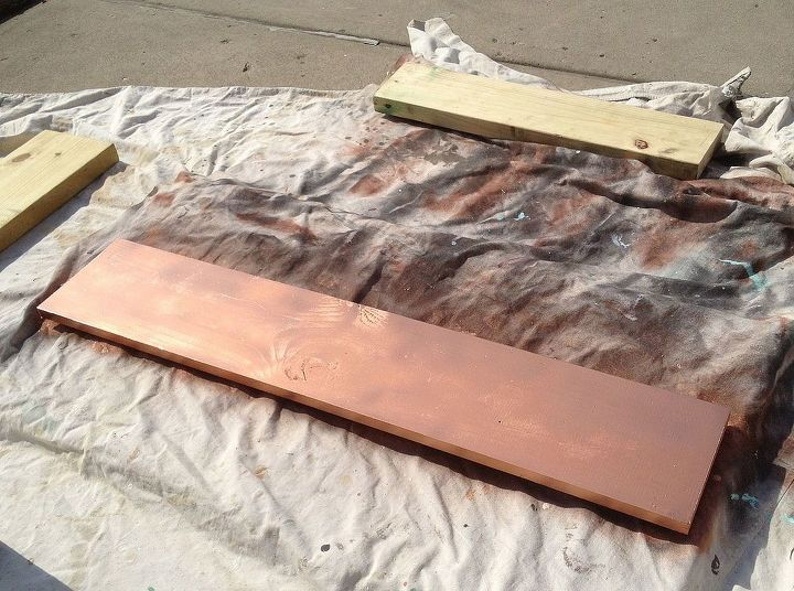 This is the wood board after painting it with copper spray paint from Rust Oleum