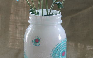 five ways to decorate mason jars, crafts, decoupage, mason jars, Fabric and paint combine onto this fabulous jar