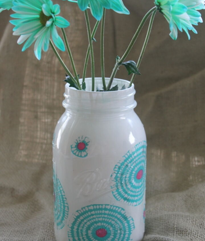 Fabric and paint combine onto this fabulous jar!  http://www.thecountrychiccottage.net/2012/06/decorating-jars-five-ways-with.html