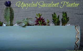 upcycled succulent planter, flowers, gardening, repurposing upcycling, succulents