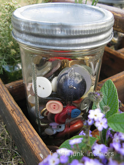 It's also fun to throw a few quirky things in the mix, such as a jar full of buttons. Why not?