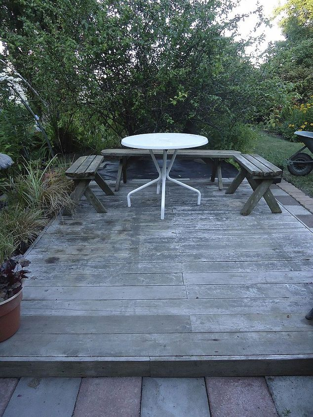 Deck has to be painted or stained yet. Benches are rustic and need work.