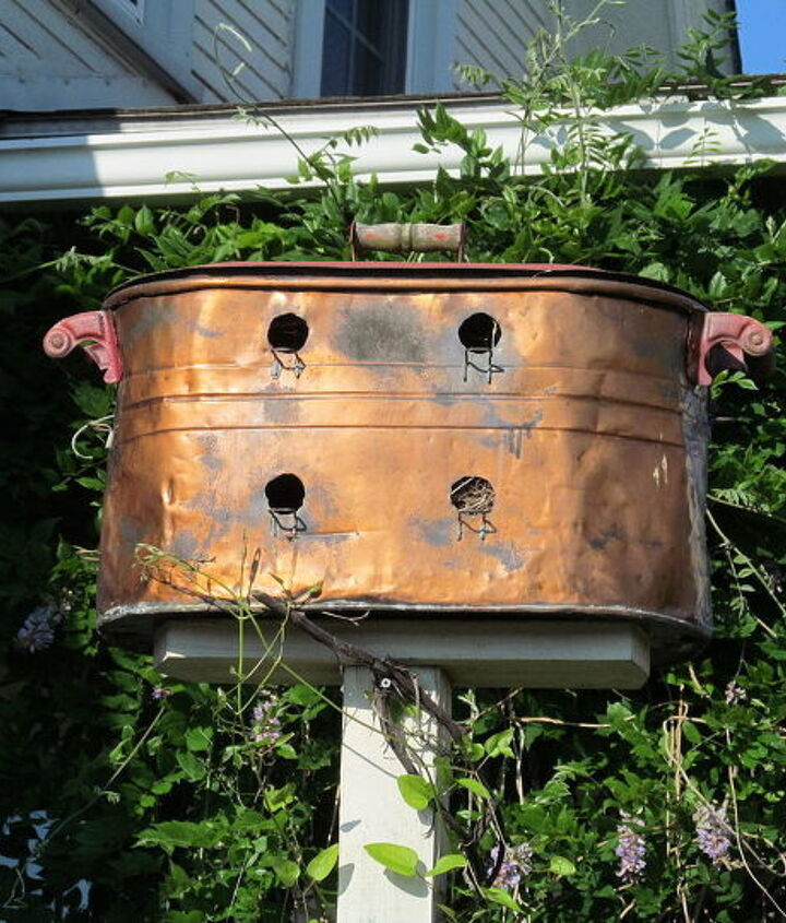 Bird House made with antique Copper Boiler. 12 Compartments, and insulated for heat and cold.