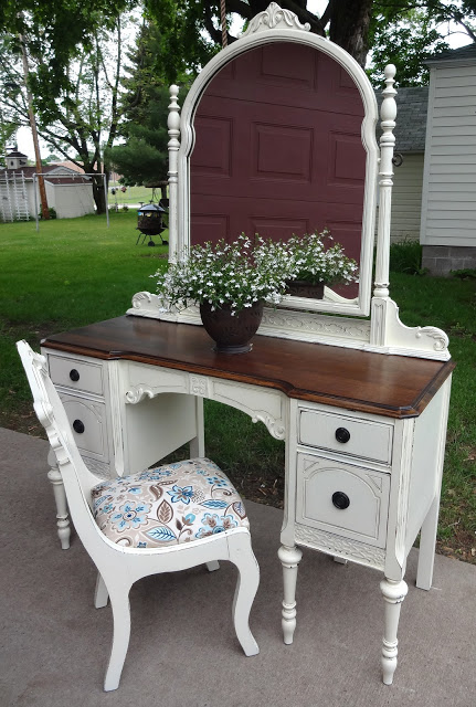 antique vanity refinished in french vanilla, painted furniture, Voila I  also found this sweet - Antique Vanity Refinished In French Vanilla Hometalk