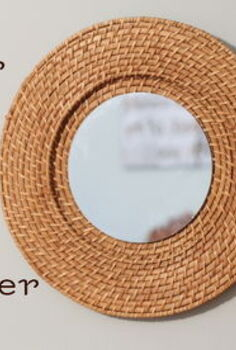 woven mirror from a 1 plate charger, crafts, Learn how to turn a 1 thrift store plate charger into a gorgeous knock off mirror