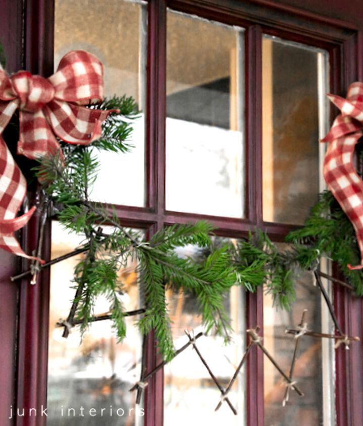 Two garlands plus two bows = a unique front door decoration.