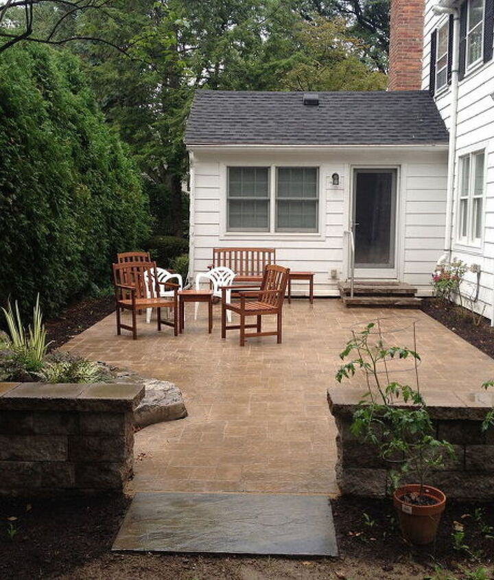 Landscape Design in Brighton NY by Acorn of Rochester NY Paver Patio, Steps, Wall with Pillars, Rock Garden, Disappearing Waterfall Fountain