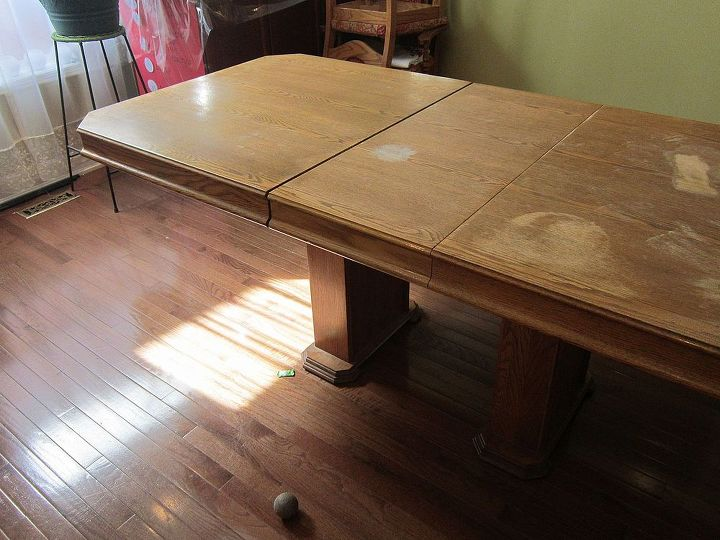 dining table update, painted furniture, I wanted to save the top finish to show wood grain and I planned to paint the legs and sides only However the top was so badly damaged by water that it had to be stripped and fixed This picture shows the old fashioned boring color