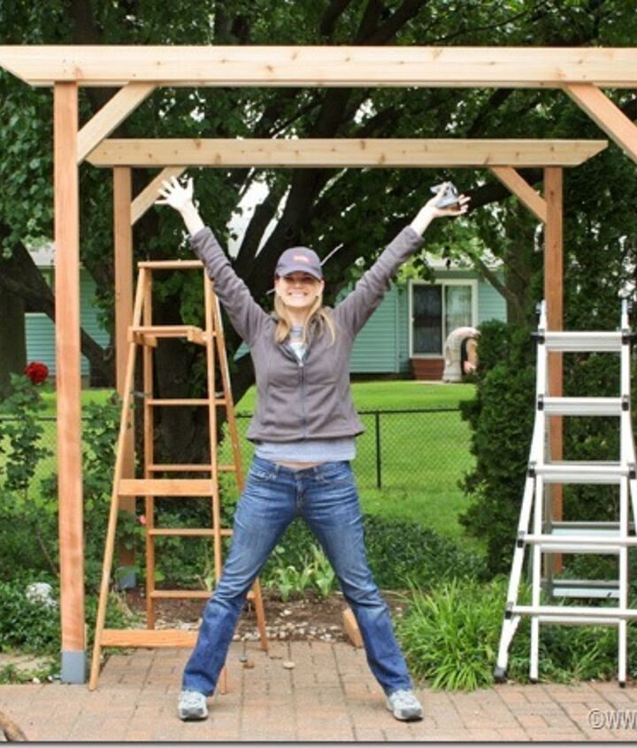 diy weekend pergola project, diy, outdoor living, woodworking projects, Add corner braces