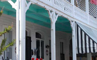 why blue porch ceilings, paint colors, painting, porches, walls ceilings, Bright green blue is an unusual shade that goes with this southern style home