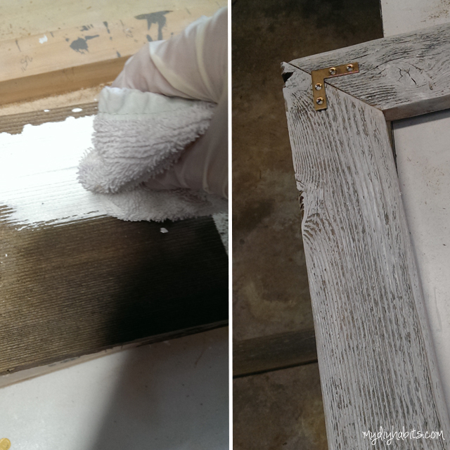 """White wash the wood.   """"white wash"""" formula a mix of white paint and water"""