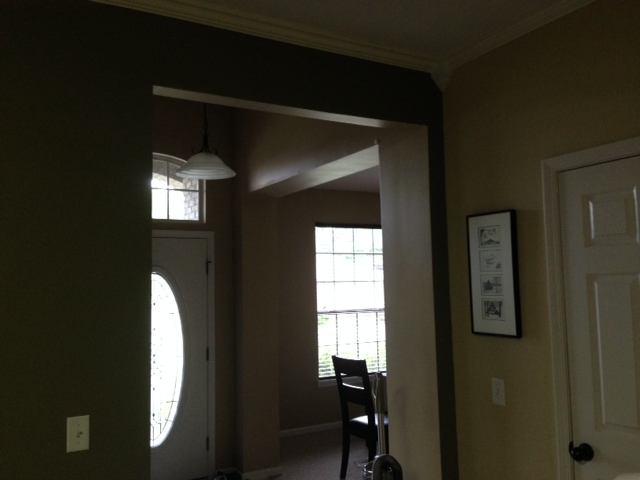q casing ideas, foyer, home decor, wall decor, from kitchen to dining room front door