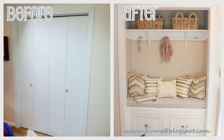 Foyer Closet Dimensions : Diy closet to entry bench hometalk