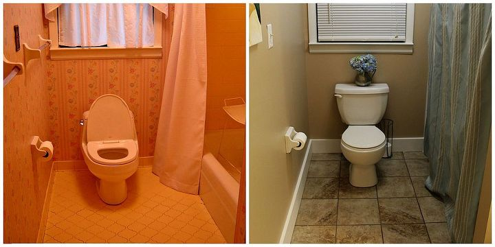 Our guest bathroom:  on the left is how it looked the day we first saw the house.  On the right is how it looks now.
