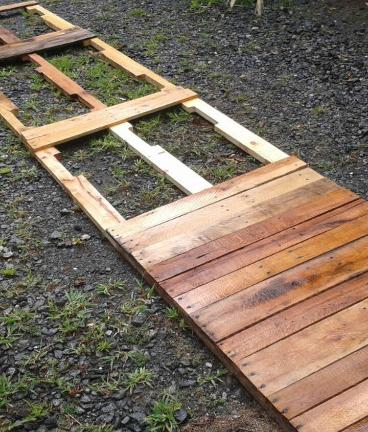 expanding patio with repurposed pallets, patio, woodworking projects