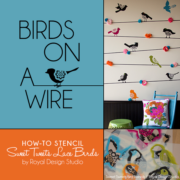 stencil how to cute lace birds on a wire, home decor, painting, Birds on a Wire How to Stencil our Sweet Tweets Lace Birds