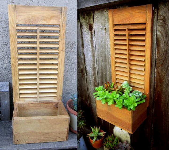 re purposed box shutter succulent planter, flowers, gardening, repurposing upcycling, succulents