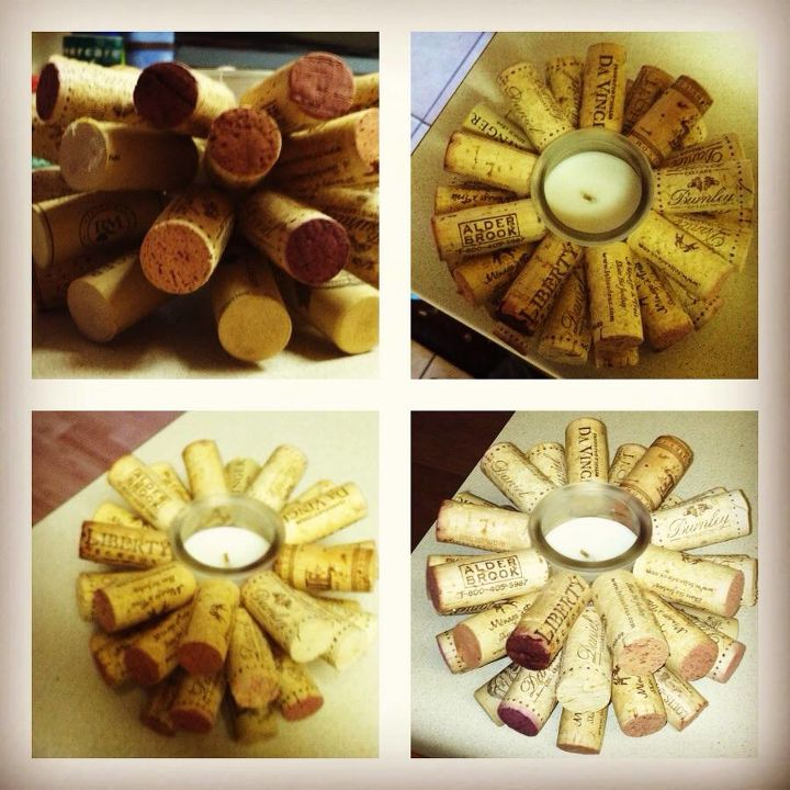 left over corks candle, crafts, repurposing upcycling