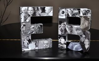 diy photo initials, crafts, home decor, More finished product Convert photos to B W We printed off multiple copies for material to work with