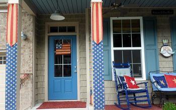 Flag Burlap Banners for Porch Columns