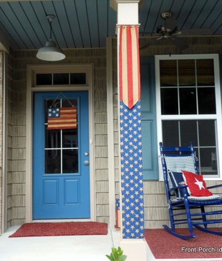 flag burlap banners for porch columns, crafts, curb appeal, patriotic decor ideas, porches, seasonal holiday decor