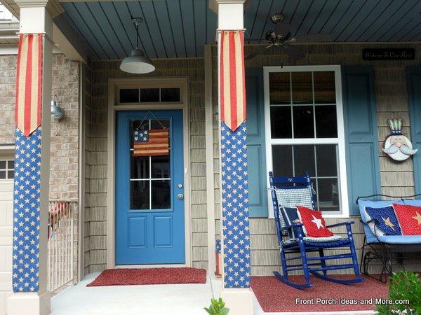 flag burlap banners for porch columns, crafts, curb appeal, patriotic decor ideas, porches, seasonal holiday decor