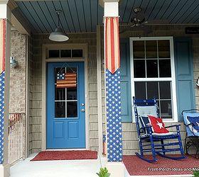 flag burlap banners for porch columns crafts curb appeal patriotic decor ideas