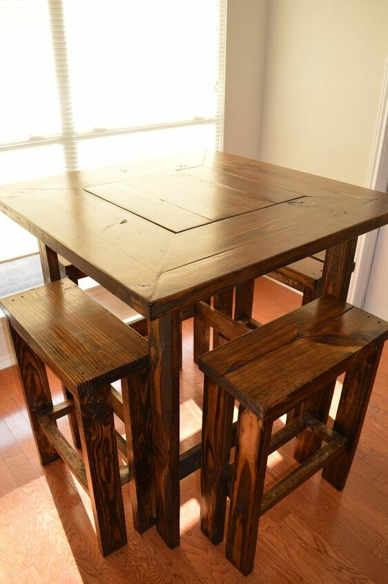 We ended up making this table because we could not find a good quality table to fit the space and not break our wallet.