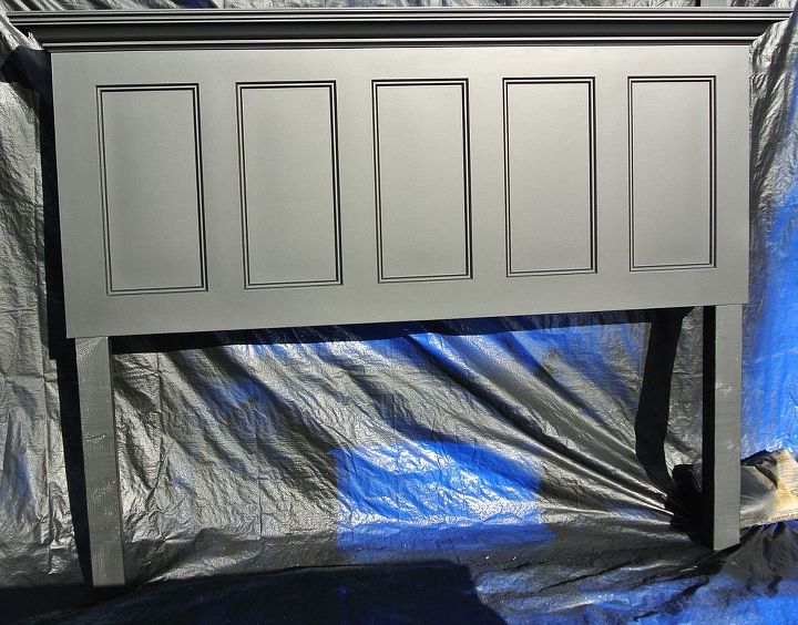 satin black 5 panel door headboard distressed and finished looks, bedroom ideas, painting, New door headboard for a king size bed