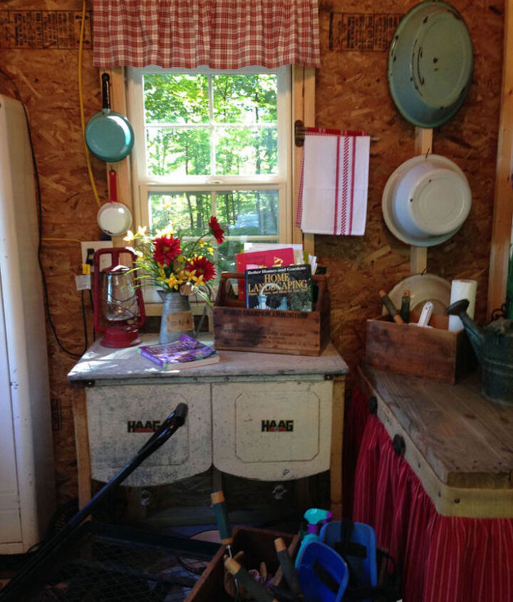 a teacher s dream garden shed, curb appeal, gardening, outdoor living, Antique Haag wash tubs
