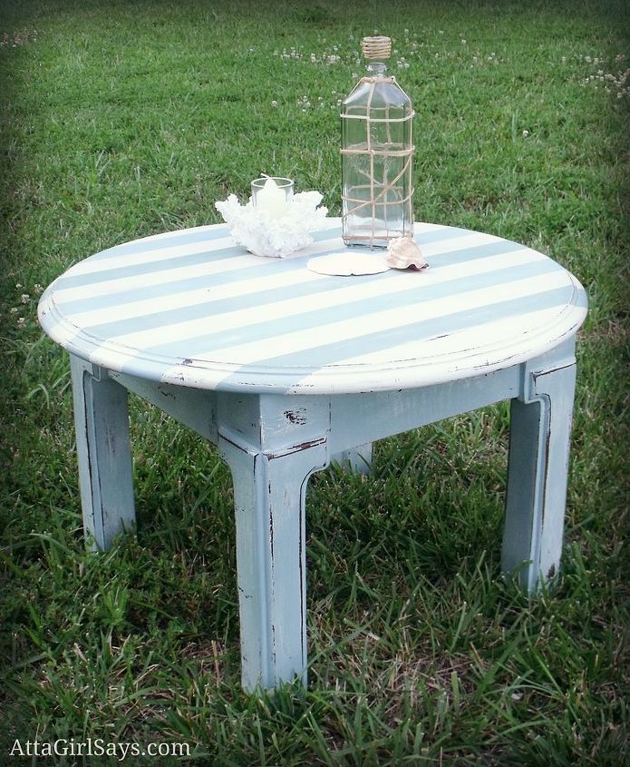Beachy striped table painted with Annie Sloan, CeCe Caldwell and handmade chalk paint