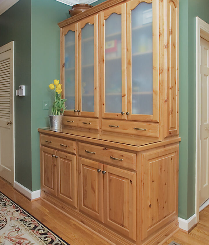 Natural Wood Hutch To Accompany Painted Cabinets In The French Country Kitchen
