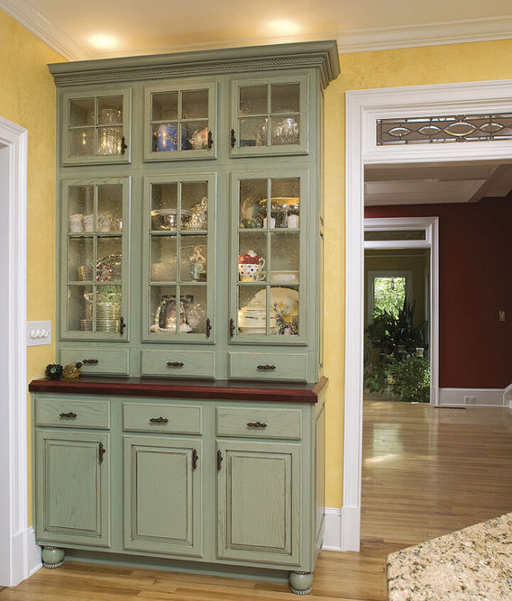 A Sage Breakfront Hutch With Hand-Made Wood Bar