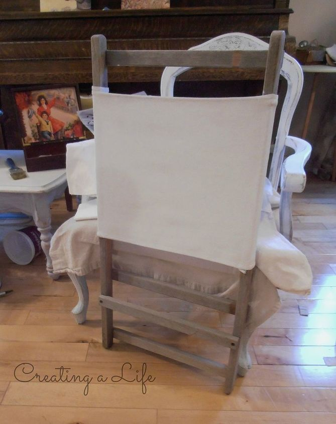 vintage beach chair to vintage beach inspired towel rack, diy, repurposing upcycling, woodworking projects, I liked the beachy look of the weathered wood Instead of painting it I sanded it smooth The canvas was pretty ugly so I gave it a few coats of white paint