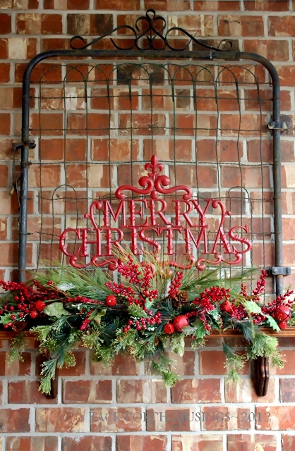 outdoor fireplace, christmas decorations, fireplaces mantels, seasonal holiday decor, Back porch fireplace decorated for Christmas