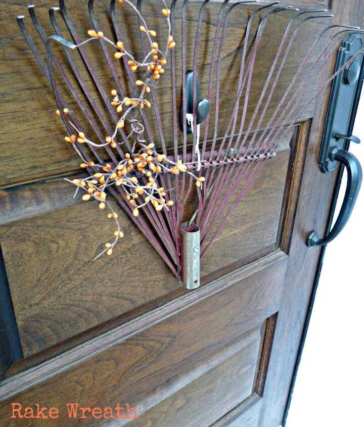Think outside the wreath box - an old rake welcomes visitors.  http://eclecticallyvintage.com/2012/09/fall-porch-diy-pumpkin-topiaries/
