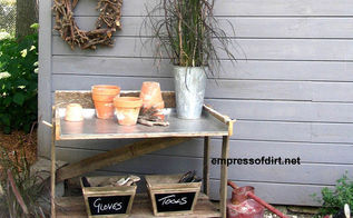easy to make garden potting benches, gardening, This old table has a new stainless steel top