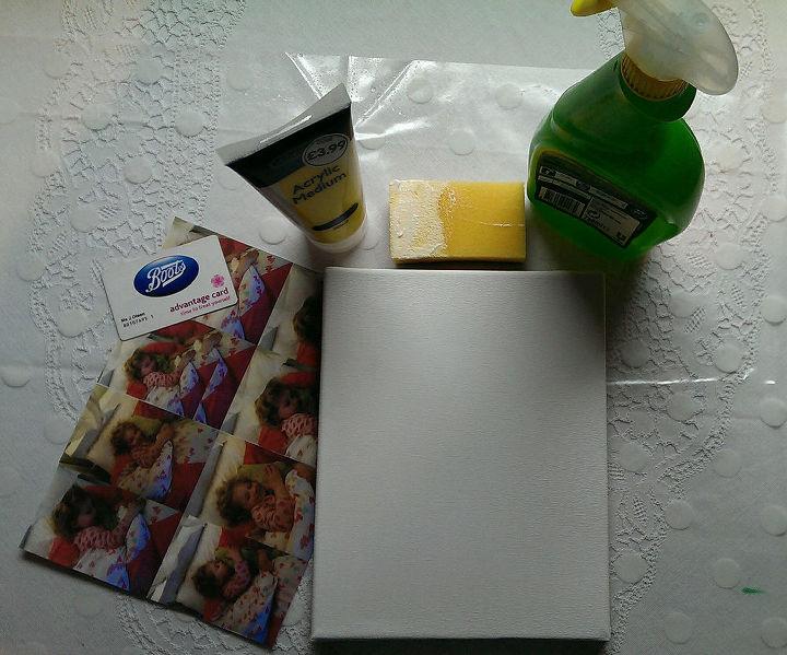 You need: canvas, acrylic gel medium, sponge and waterspray