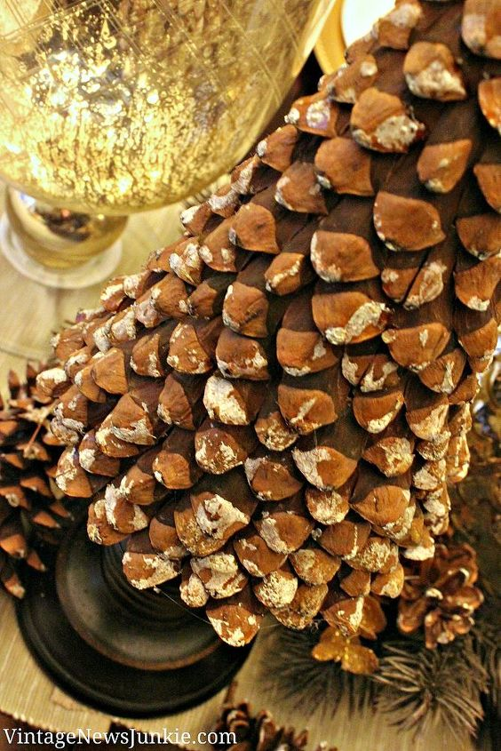 diy pinecone christmas tree, christmas decorations, crafts, seasonal holiday decor, The lovely white tips are natural