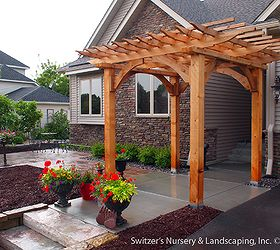 Custom Cedar Arbor Enhances Homes Front Entrance And Paver Patio Provides  Sitting And, Curb Appeal