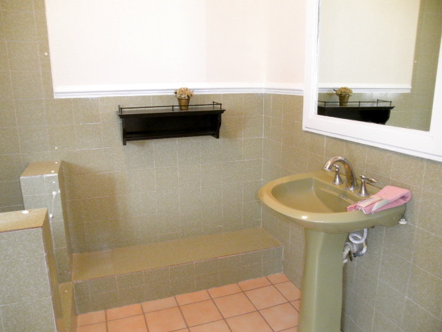 q updating bathroom in rental, bathroom ideas, home decor, tiling, guest room bath this green not as bad the bathroom only shower