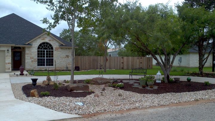 Creating a no mow dry creek garden in front of our new ... on No Mow Backyard Ideas id=34693