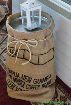 burlap coffee sack table, painted furniture